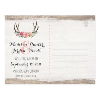 Blumengeweih-rustikale Hochzeit   Save the Date Postkarte