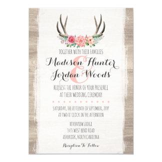 Blumengeweih-rustikale Hochzeits-personalisiertes Karte