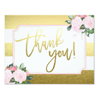 BlumengoldImitat-Folie | danken Ihnen 10,8 X 14 Cm Einladungskarte