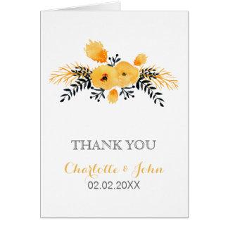Blumenhochzeit des gelben grauen Aquarells danken Grußkarte