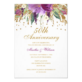 Blumenhochzeits-Jahrestag des Glitter-Amethyst-50. 12,7 X 17,8 Cm Einladungskarte