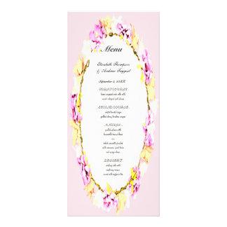 Blumenhochzeitsmenü der eleganten weichen Blume Werbekarte