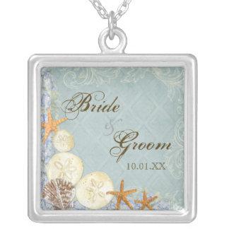 BlumenHütte durch die Muscheln-Beachy Hochzeit Halskette Mit Quadratischem Anhänger