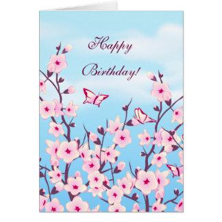 Blumenkirschblüten-Geburtstag Karte