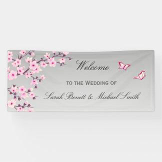 Blumenkirschblüten-Rosa-graue Hochzeit Banner