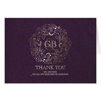 BlumenKranz-Gold-und Pflaumen-Hochzeit danken Karte