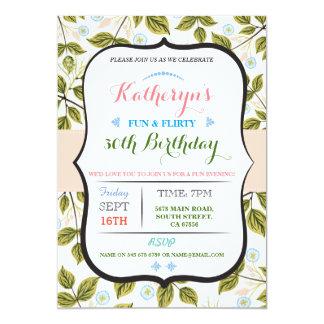 Blumenladen 40. Geburtstags-Party des Blätter-50. 12,7 X 17,8 Cm Einladungskarte