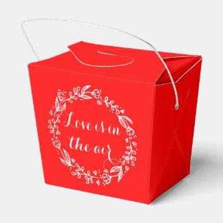 BlumenLiebe-rote weiße Blumewreath-Hochzeit Geschenkschachtel