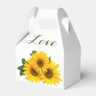 BlumenLiebe-Sonnenblumen gelb u. grüne Hochzeit Geschenkschachtel