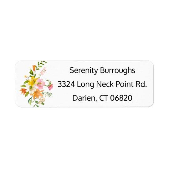 Blumenlilien-Blumen - rosa, orange, gelbe Hochzeit Rückversand-Adressaufkleber