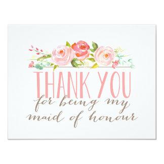 Blumenmädchen der Ehre danken Ihnen 10,8 X 14 Cm Einladungskarte