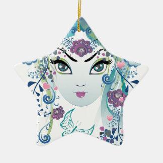 Blumenmädchen Face3 Keramik Ornament