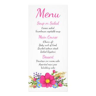 Blumenmenüwatercolor-Rosa-Blumen, die Party Werbekarte