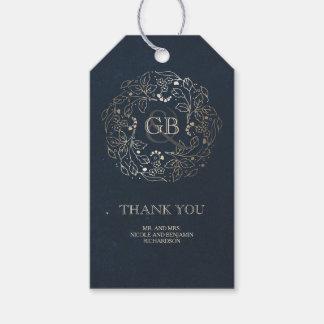 Blumenmonogramm-Gold-und Marine-Vintage Hochzeit Geschenkanhänger