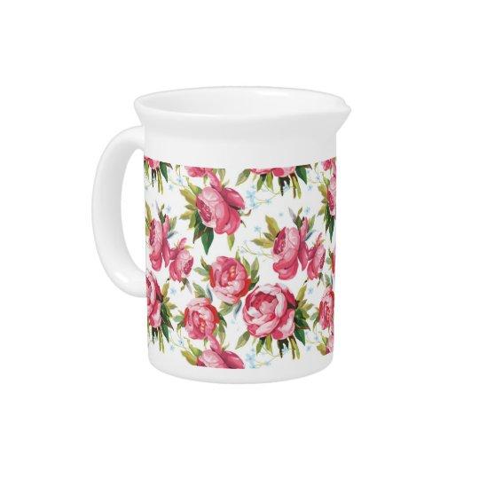 Blumenmuster der Vintagen rosa Rosen Getränke Pitcher