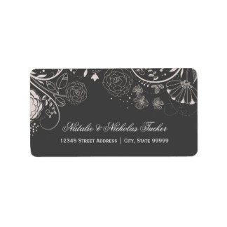 Blumenmuster grau/Weiß - Adressen-Etiketten Adressaufkleber