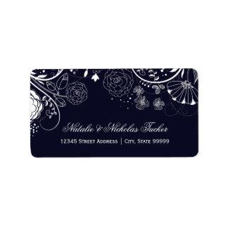 Blumenmuster-Marine/Weiß - Adressen-Etiketten Adressaufkleber