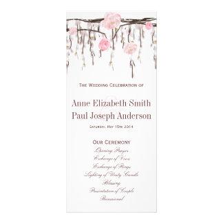 Blumenniederlassungen rosa Hochzeits-Programm Werbekarte