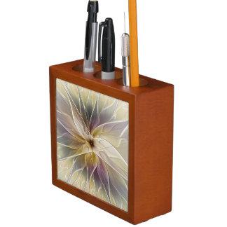 Blumenphantasie-Goldauberginen-abstrakte Stifthalter