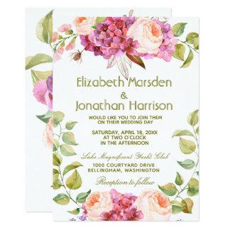 BlumenRosehydrangea-Frühlings-Hochzeits-Einladung Karte