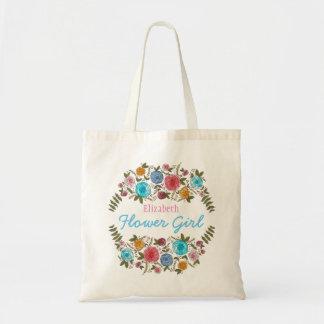BlumenRosen-Blumen-Mädchen mit Namen Budget Stoffbeutel