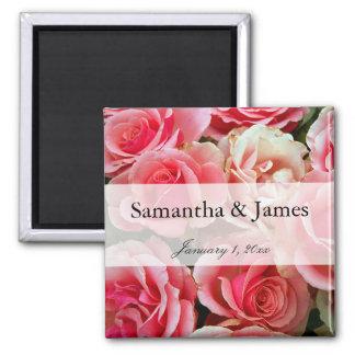 Blumenstrauß der rosa Rosen-persönlichen Hochzeit Quadratischer Magnet