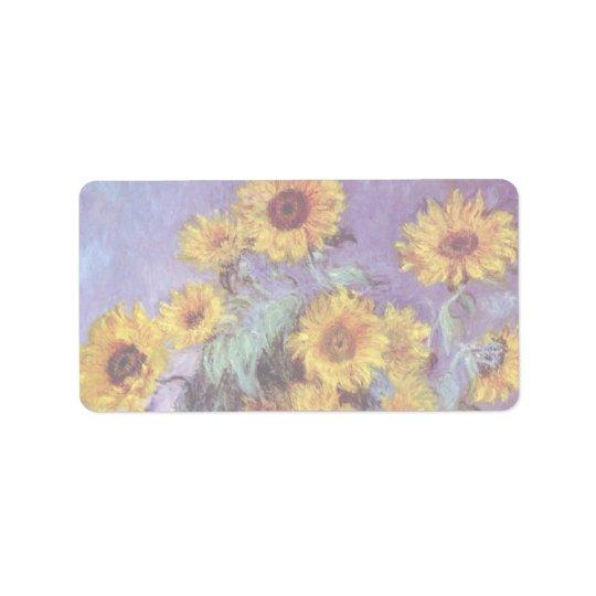 Blumenstrauß der Sonnenblumen durch Claude Monet, Adressaufkleber
