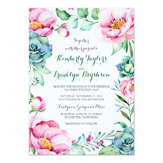 Blumenstrauß-elegante moderne Hochzeit 12,7 X 17,8 Cm Einladungskarte