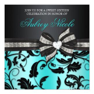 Blumenstrudel 16. Geburtstag laden mit Jeweled Quadratische 13,3 Cm Einladungskarte