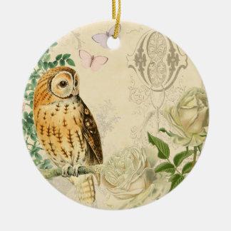 Blumenverzierung der Vintagen Eule mit schönen Rundes Keramik Ornament