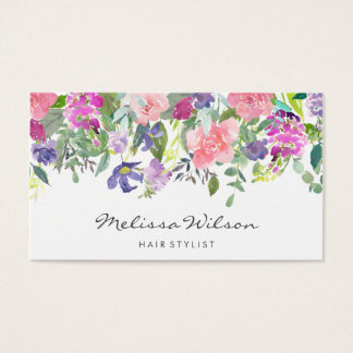 Blumenwatercolor-Rosa-blaue Blumen-modernes Skript Visitenkarte
