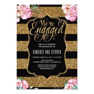 Blumenwatercolors-GoldGlitter-Verlobungs-Party 12,7 X 17,8 Cm Einladungskarte