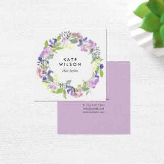BlumenWatercolorwreath-lila blaue Blume Quadratische Visitenkarte