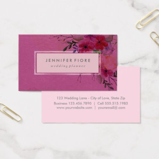 BlumenWedding Event-Planer des Aquarell-Rosa-| Visitenkarten