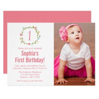 Blumenwreath-Foto-Mädchen-1. Geburtstag 12,7 X 17,8 Cm Einladungskarte