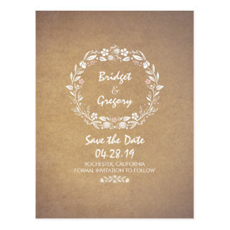 Blumenwreath-Vintage Save the Date Postkarten