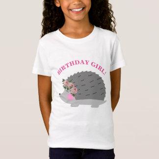 Blumewreath-Igels-Geburtstags-Mädchen-T - Shirt