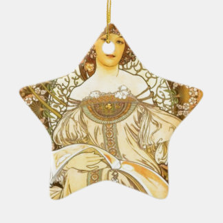 Blumiges Mädchen Keramik Stern-Ornament
