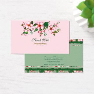 Blüten rosa u. grüne Visitenkarte
