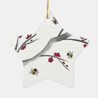 Blüten und Bienen Keramik Ornament