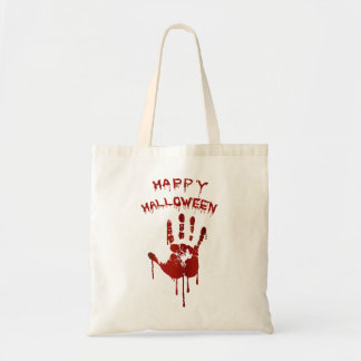 Blutige Halloween-Hand Budget Stoffbeutel