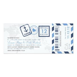 Boarding-Durchlauf-Seeluftpost-Karten-Einladung 10,2 X 23,5 Cm Einladungskarte