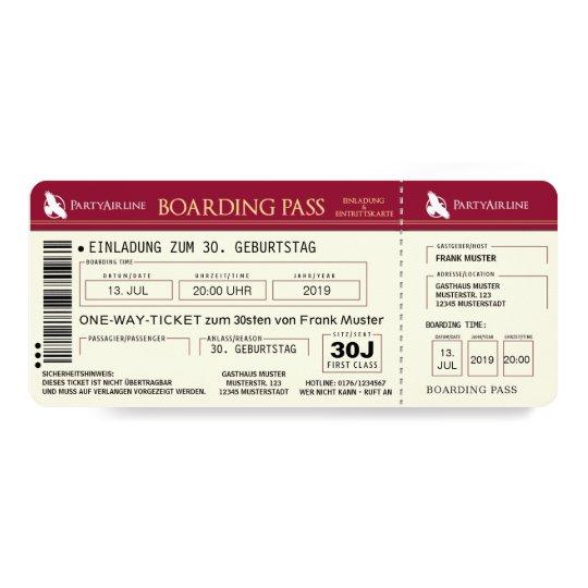 Boarding Pass Flugticket Einladungskarte Rot Einladung