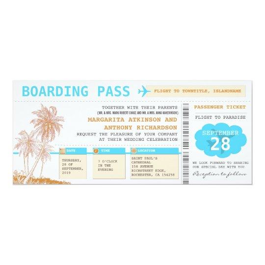 Boardingdurchlauf-Hochzeit in Urlaubsortskarten Karte