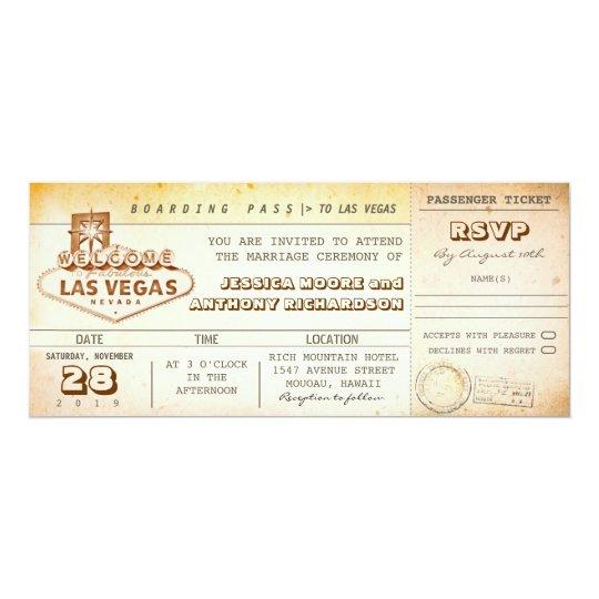 Boardingdurchlauf-Hochzeit Karteeinladung LAS Karte