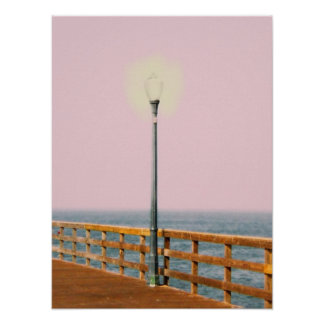 Boardwalk Lamppost Seal Beach  Digital Art Poster