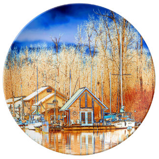 Boathouses nach goldenem Teich Teller