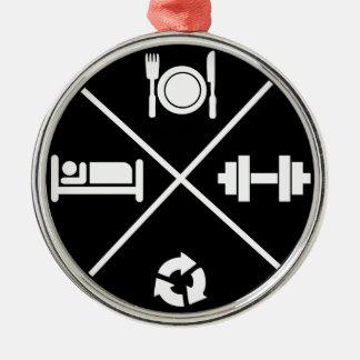 Bodybuiding Turnhallen-Motivation Silbernes Ornament