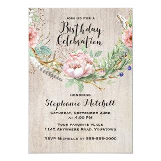 Böhmische rosa Blumen und Feder-Geburtstag 12,7 X 17,8 Cm Einladungskarte