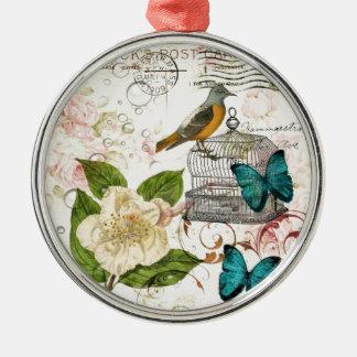 böhmischer schicker Schmetterling Rundes Silberfarbenes Ornament